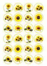 24 icing cake toppers decorations fairy bun Mixed yellow sunflowers flowers