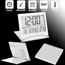 USA Large Digital LCD Folding Travel Alarm Clock with Thermometer Calendar Timer