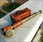 Antique Brass Telescope Marine Nautical Leather Pirate Spyglass Vintage Scope