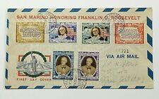 1947 FDC San Marino to NY City Regist. Airmail Honoring Franklin D. Roosevelt.