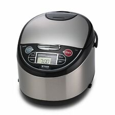 Tiger JAX-T18U-K 10-Cup Micom Rice Cooker with Food Steamer Slow Cook S/S Black