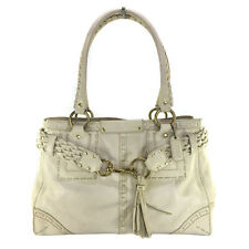 COACH HAMPTON VINTAGE IVORY BRAIDED LEATHER SATCHEL BAG