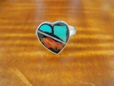 Sterling Silver 925 Ring Size 7 Coral and Turquoise Stone Heart Shape