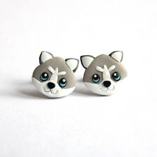 Handmade Polymer Clay Siberian Husky Grey Dog Small Stud Girls Earrings Jewelry