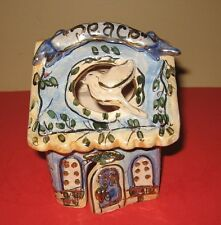 2000 Blue Sky Clayworks Peace Dove Tea Light House By Heather Goldminc