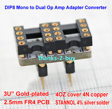 Double Single DIP8 to Single DIP8 Dual OP Amp Opamp Socket Gold Plated Converter