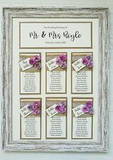 A3 framed hessian lace with vintage rose wedding table plan / seating plan