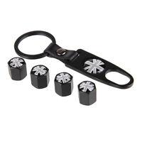 Black Wheel Tire Valve Stem Air Caps plugs Keychain Union Jack Gray Logo B265