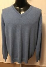 Roundtree & Yorke Mens  100% Blue V Neck Cashmere Sweater Sz XL