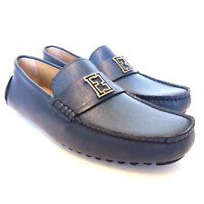 L-2232289 New Fendi Cobalt Blue Loafers Shoes Size US-10 UK-9