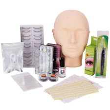 Training Makeup Practice Head False Eyelashes Extension Glue Patch Tool Set