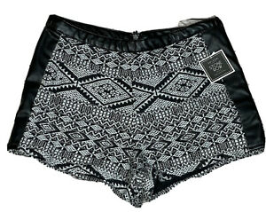 NEW Junior's Volcom Stone Row Silver Black Sparkly Faux Leather Shorts Medium 12