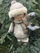 XL Winterkind Mädchen Laterne Figur Gartenfigur Weihnachtsdeko Winterdeko Herbst