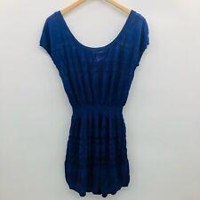 Victorias Secret Womens Medium Short Sleeve Sweater Dress Lined Slip Indigo 268