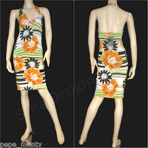 Womens V-Knot Halter Neck Tropical Floral Stretch Midi Dress DR9236/953 Free P&P