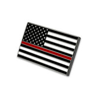 NEW Fire Department Thin Red Line USA Flag Pin