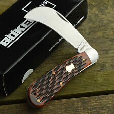 Boker Plus Brown Jigged Bone 440C Hawkbill Folding Knife 01BO207