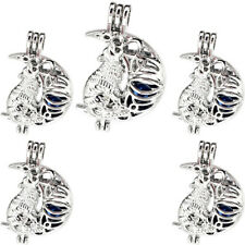 Wolf Pearl Beads Cage Moon Charm Perfume Diffuser Pendant 5X-K1165