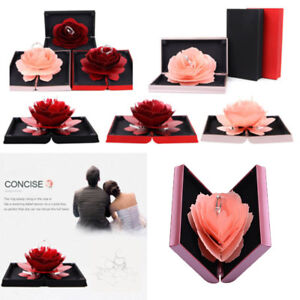 3D Pop Up Rose Ring Box Wedding Engagement Jewelry Storage Holder Case Bump