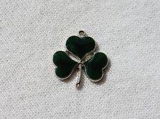 Vintage Sterling Silver Charm Green Enamel 3 Leaf Clover Shamrock Ireland Vtg