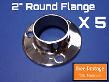 """5 X ROUND FLANGE 316 STAINLESS STEEL 2"""" HANDRAIL FITTING BALUSTRADE POLE BASE"""