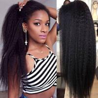 Light Yaki Straight Full Wigs Peruvian Remy Human Hair 13X6 Lace Front Wig Black
