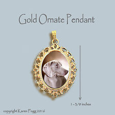 Weimaraner Dog - Ornate Gold Pendant Necklace