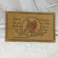Vtg Leather Postcard Bachelors Life Scene Poem Souvenir 1906 Funny Single Man