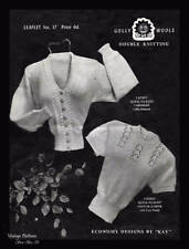1940's Economy Design Knitting Pattern Sweater & Cardigan Two Piece Rare COPY