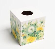 Dandelion Clocks Tissue Box Cover Holder square wooden handmade decoupaged uk