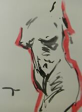 """JOSE TRUJILLO - MODERN ABSTRACT EXPRESSIONIST INK WASH RED NUDE TORSO 18X24"""" ART"""