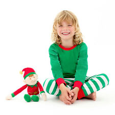 Elf Pyjamas, Green, Red and White Elf Pyjama Set, Size 4 - 5 yrs