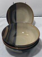 Sango AVANTI BLACK Stripes Stoneware Cereal Soup Bowls Set of 4