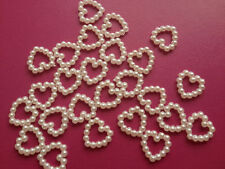 25 SMALL IVORY CREAM PEARL BEAD HEART WEDDING CARD MAKING CRAFT EMBELLISHMENTS
