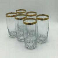 Vintage Gold Rim Glass Tumblers Highball Lot Of Six