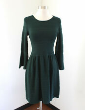Vince Camuto Forest Green Striped Knit Bell Sleeve Sweater Dress Size XS Womens