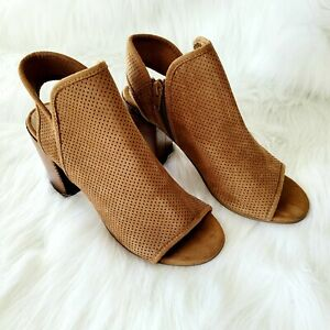 Steve Madden Perforated CODY Peeptoe Sling Back Booties Tan Size 7.5 Suede