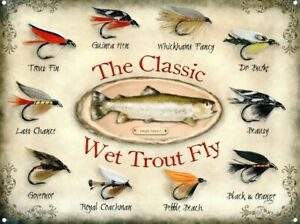 Tin Sign The Classic Wet Trout Fly Cream 40 x 30cm