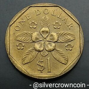 Singapore 1 Dollar 1987. KM#54b. One Pound coin. First year issue. Flower.