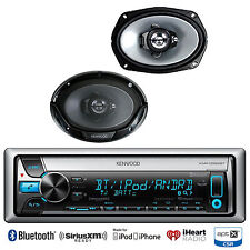 "KMRD768BT Bluetooth iPod CD USB Radio, 2 Kenwood 6x9"" Car 3Way Coaxial Speakers"