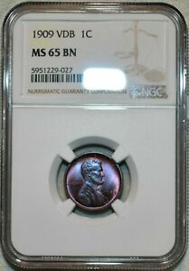1909 VDB LINCOLN WHEAT CENT NGC MS 65 BN HIGH GRADE STUNNING COLOR TONED GEM
