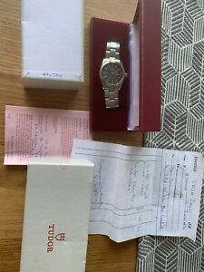 Tudor Rolex Signed Oyster Mens Watch With Box And Papers