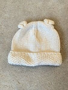 Baby Unisex Boy Girl Thick Knit Winter warm Cream Organic Hat Gap! Newborn. Used