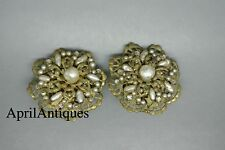 Vintage Miriam Haskell faux baroque pearl beaded flower filigree earrings