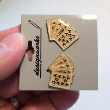 Clubs Royal Flush Poker Playing Cards Stud Earrings - Enamel & Gold Tone Jewelry