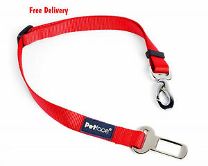 Petface Dog Seat Belt, Car restraint in Red, clip to Harness
