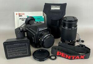 PENTAX 645 Medium Format Film Camera w/ 2 Lenses & Extras, CLEAN