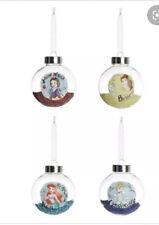 Primark Disney 4 X Princess Christmas Baubles Tree Decoration Snow White Cinders