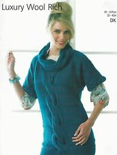 """#220 LADIES CHUNKY CABLE SWEATER 32-42""""  VINTAGE KNITTING PATTERN"""