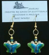 VERY PRETTY CLOISONNÉ BUTTERFLY EARRINGS WITH CRYSTALS by Sandy of Scottsdale